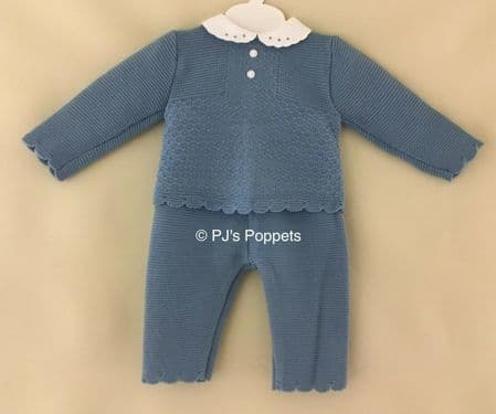 BABY BOYS GIRLS PORTUGUESE KNITTED TRACKSUIT JUMPER LEGGINGS SET AIRFORCE BLUE